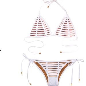 Beach Bunny White Bikini Swimwear hard summer